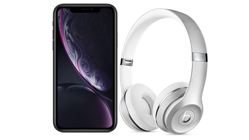 iPhone XR + Beats Solo3 Headphones. £49 upfront cost + £62 a month