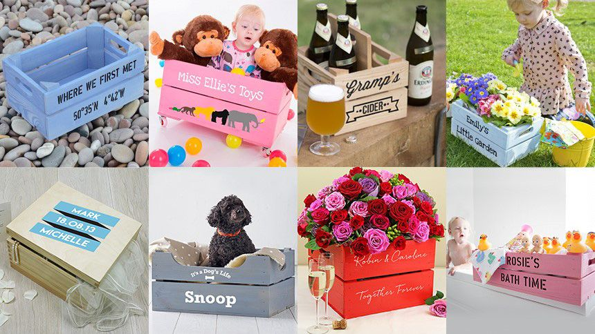 Personalised Wooden Gift Crates. 10% Teachers discount
